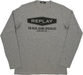 REPLAY/リプレイM3850 THE BLUE JEANS SPECIALIST T-SHIRT 長袖プリントTシャツ/ロゴ入り長袖カットソー DARK GREY MELANGE(グレーメランジ)