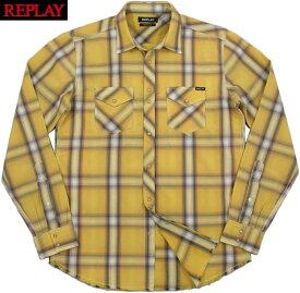 REPLAY/リプレイ M4007 CHECKED PRINT SHIRTチェックウェスタンシャツ YELLOW/WHITE/BLACK CHECK(イエロー×ホワイト×ブラック)