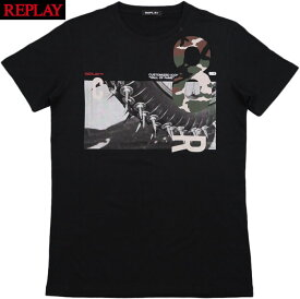 REPLAY/リプレイ M3733 T-SHIRT WITH PRINT AND CAMO DETAILING 半袖プリントTシャツ/カットソー BLACKBOARD(ブラック)