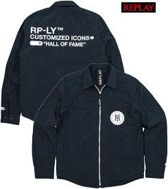 REPLAY/リプレイ M8968B RY LOGO TECHNICAL JACKET ナイロン ウィンドブレーカー/コーチジャケット BLUE(ブルー)