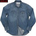 REPLAY/リプレイ M4023 SHIRT IN AGED DENIM Western style denim shirt デニムウェスタンシャツ