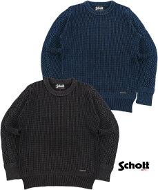 Schott/ショット#3174011 DULL COLOR CREW NECK SWEATER ダルカラークルーネックセーター/サルファーダイ・コットンセーター/クルーネックセーター
