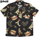 """Schott/ショット #3195026 HAWAIIAN SHIRT""""TATTOO"""" コットン×レーヨン混、半袖ハワイアンシャツ/アロハシャツ BLACK(ブラック)"""