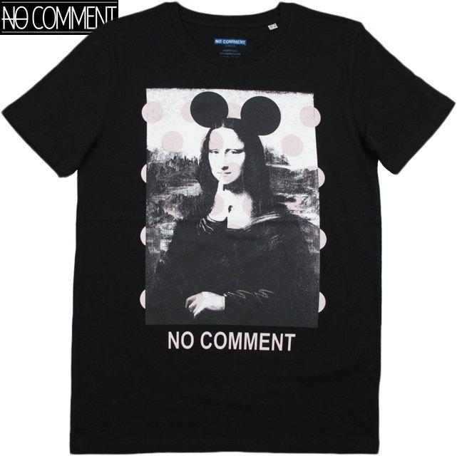 NO COMMENT PARIS/ノーコメントパリ T-SHIRT MEN SOLO MONALISA 半袖プリントTシャツ/カットソー BLACK(ブラック)