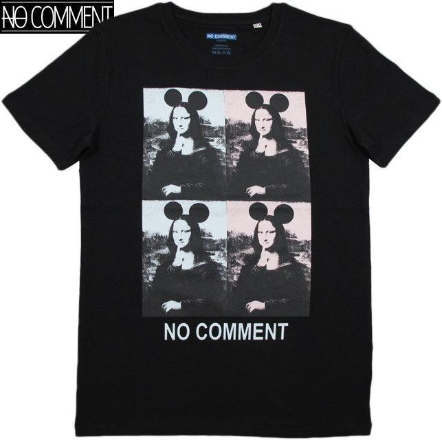 NO COMMENT PARIS/ノーコメントパリ T-SHIRT MEN 4 MONALISA 半袖プリントTシャツ/カットソー BLACK(ブラック)