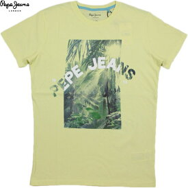 Pepe Jeans/ペペジーンズ PM506383 OWAIN PRINTED T-SHIRT 半袖プリントTシャツ/カットソー LIME YELLOW(ライムイエロー)