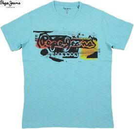 Pepe Jeans/ペペジーンズ PM504034 AMERSHAM PAINT EFFECT T-SHIRT 半袖プリントTシャツ/カットソー GLACIER(ブルー)