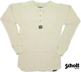 Schott(ショット) TRI BREND THERMAL HENRLY TEE 長袖サーマル、ヘンリーネックTシャツ WHITE(ナチュラルホワイト)