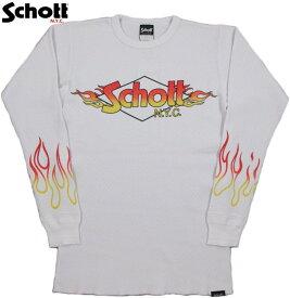 Schott/ショット HEAVY WAFFLE FIRE SCHOTT L/S T-SHIRT ファイヤーロゴプリント入り、ヘビーウェイトワッフル長袖Tシャツ/サーマルカットソー WHITE(ホワイト)/3183062