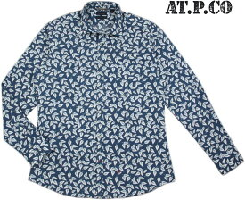 AT.P.CO/アティピコA146ITALIA PRINT SHIRTS総柄プリントシャツ/花柄シャツ BLUE(ブルー)