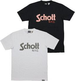 """Schott/ショット #3183018 S/S T-SHIRT""""CHECKER FLAG LOGO"""" チェッカーフラッグロゴプリント入り、半袖Tシャツ/カットソー"""