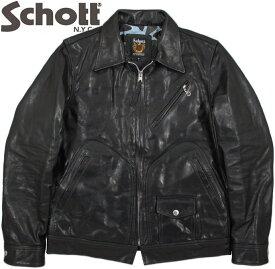 Schott/ショット EAST COAST JACKETゴートスキンレザー、イースト コースト ジャケット/襟付きレザージャケット/襟付き山羊革ライダースBLACK(ブラック)/Lot;3161042