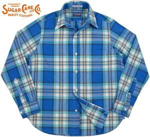 SUGAR CANE/シュガーケーン Made in U.S.A. MADRAS CHECK L/S B.D. SHIRT 米国製、長袖マドラスチェック・ボタンダウン シャツ BLUE(ブルー×ホワイト×ミントグリーン)/SC26798