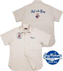 "BUZZ RICKSON'S/バズリクソンズHERRINGBONE TWILL S/S SQUADRON REUNION SHIRT STRIPE""Hat in the Ring""刺繍ワッペン付き、スクォードロン・リユニオンシャツ/ミリタリーシャツ WHITE(ホワイト×ネイビー)/BR36964"