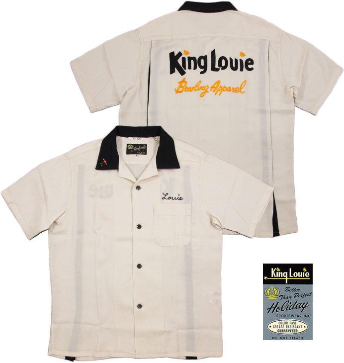 """King Louie by Holiday/キングルイ バイ ホリデー""""KING LOUIE"""" 背中ブランドロゴ刺繍入り、レーヨンボーリングシャツ/ボウリングシャツ OFF WHITE(オフホワイト)/KL37022"""