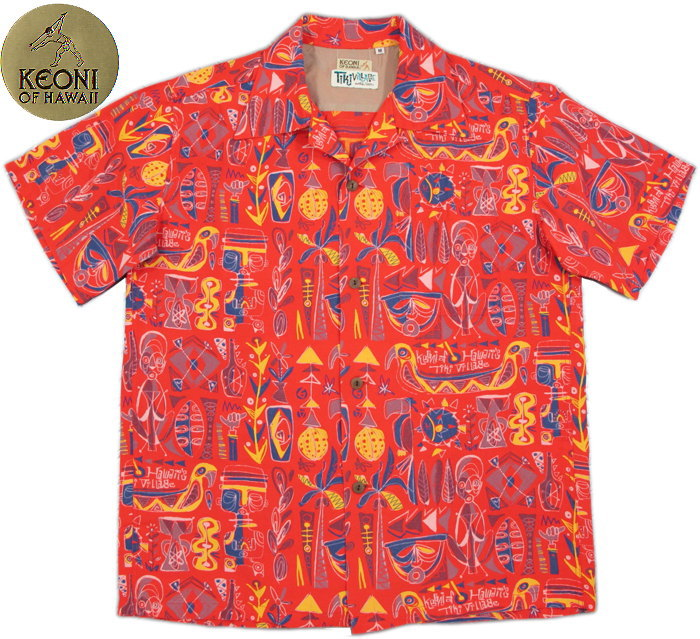 "KEONI OF HAWAII/ケオニオブハワイ""Tiki ViLLAGE"" by Mookie Sato(「ティキ・ビレッジ」byムーキーサトウ) 165)RED(レッド)/SS37333"