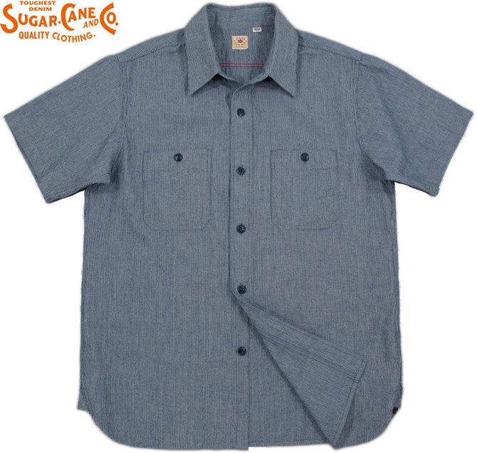SUGAR CANE/シュガーケーンINDIGO PIN STRIPE S/S WORK SHIRTインディゴ・ピンストライプ、半袖ワークシャツ BLUE(ブルー)/SC37661