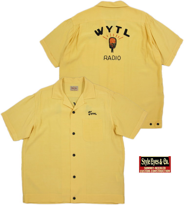 "STYLE EYES/スタイルアイズ RAYON BOWLING SHIRT W/CHAIN EMB'D""WYTL RADIO""チェーン刺繍入り、レーヨンボウリングシャツ YELLOW(イエロー)/SE37554"