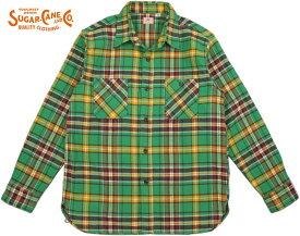 SUGAR CANE/シュガーケーン TWILL CHECK L/S WORK SHIRTツイルチェック ワークシャツ/チェックシャツ/綿ネルシャツ GREEN(グリーン×イエロー)/SC27969