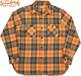SUGAR CANE/シュガーケーン TWILL CHECK L/S WORK SHIRTツイルチェック ワークシャツ/チェックシャツ/綿ネルシャツ YELLOW(イエロー×グレー)/SC27966