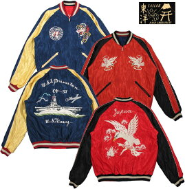 "TAILOR TOYO/テーラートーヨー ACETATE SUKA/ SOUVENIR JACKET リバーシブル・サテン スカジャン/アセテートスカジャン RED/BLACK""WHITE EAGLE""×NAVY/GOLD""U.S.S. PRINCETON""Lot/TT14331"