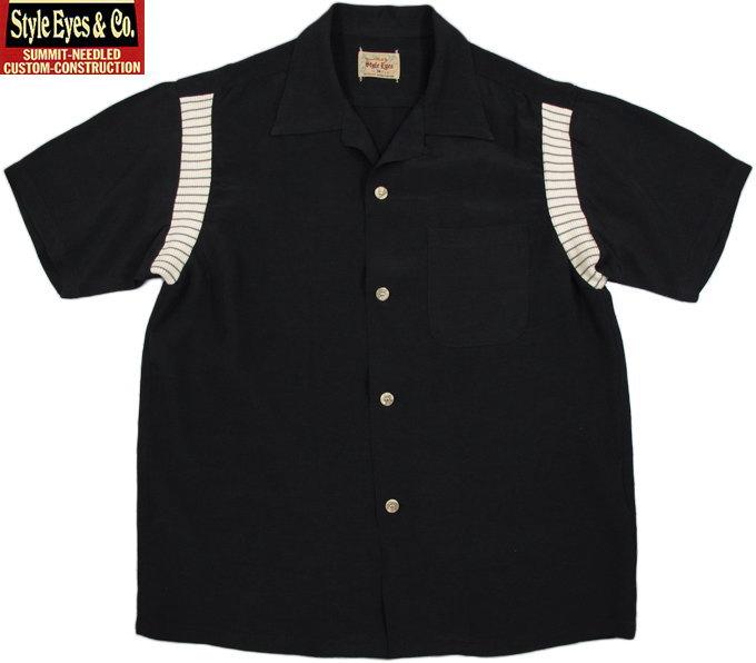 """STYLE EYES/スタイルアイズ RAYON BOWLING SHIRT""""RIB SWITCHED""""コットンリブ切り替えデザイン、レーヨンボウリングシャツ BLACK(ブラック)/SE37801"""