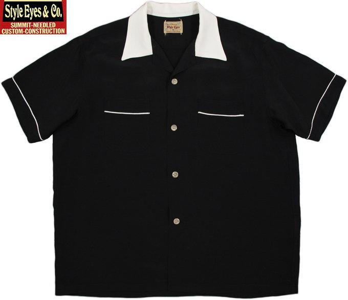 """STYLE EYES/スタイルアイズ RAYON BOWLING SHIRT""""TWO-TONE"""" レーヨンボウリングシャツ BLACK(ブラック)/SE37802"""