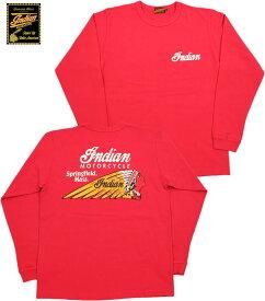 "INDIAN MOTORCYCLE/インディアンモーターサイクル L/S T-SHIRT""INDIAN HEAD"" 長袖バックプリントTシャツ RED(レッド)/IM68341"