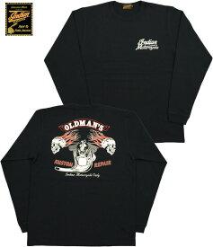 """INDIAN MOTORCYCLE/インディアンモーターサイクル L/S T-SHIRT""""OLDMAN'S SHOP"""" 長袖バックプリントTシャツ BLACK(ブラック)/IM68344"""