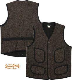 SUGAR CANE/シュガーケーン BEACH CLOTH VEST ビーチクロス ベスト/ジレ BLACK(ブラック)/Lot;SC14535