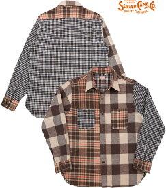 SUGAR CANE/シュガーケーン CRAZY TWILL CHECK L/S WORK SHIRT クレイジーパターン・ツイルチェック ワークシャツ/チェックシャツ/綿ネルシャツ BROWN(ブラウン)/SC28239