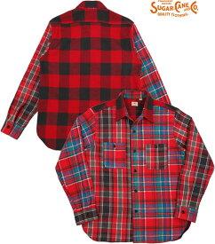 SUGAR CANE/シュガーケーン CRAZY TWILL CHECK L/S WORK SHIRT クレイジーパターン・ツイルチェック ワークシャツ/チェックシャツ/綿ネルシャツ RED(レッド)/SC28239