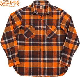 SUGAR CANE/シュガーケーン TWILL CHECK L/S WORK SHIRT ツイルチェック ワークシャツ/チェックシャツ/綿ネルシャツ ORANGE(オレンジ)/SC28233
