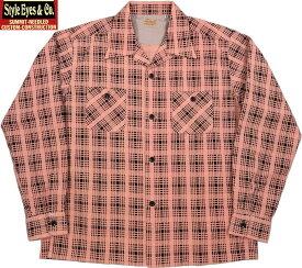 "STYLE EYES/スタイルアイズ""PRINTED CHECK""FLANNEL SPORTS SHIRT プリントチェックネル・オープンカラーシャツ/スポーツシャツ PINK(ピンク)/SE28260"