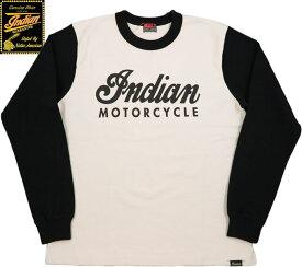INDIAN MOTORCYCLE/インディアンモーターサイクル HEAVY L/S 2TONE T-SHIRT W/PRINT ヘビーウェイト、プリント入りツートーンTシャツ/カットソー OFF WHITE×BLACK(オフホワイト×ブラック)/IM68338