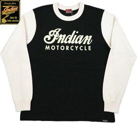 INDIAN MOTORCYCLE/インディアンモーターサイクル HEAVY L/S 2TONE T-SHIRT W/PRINT ヘビーウェイト、プリント入りツートーンTシャツ/カットソー BLACK×OFF WHITE(ブラック×オフホワイト)/IM68338