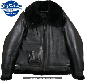 """BUZZ RICKSON'S/バズリクソンズ BLACK B-3 SHEEP SKIN / HORSE HIDE""""William Gibson Collection""""ウィリアム・ギブソン コレクション、ブラックB-3 Lot;BR80540"""