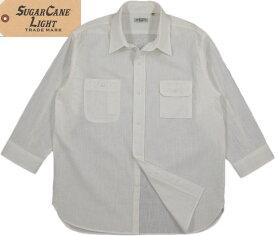 SUGAR CANE Light/シュガーケーン ライト C 75%/L 25% SLUB BROAD 3/4 SLEEVE WORK SHIRT コットン×リネン スラブブロード、7部袖ワークシャツ OFF WHITE(オフホワイト)/SC38171
