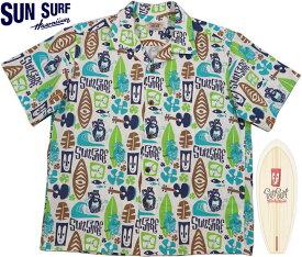 """SUN SURF/サンサーフ""""PINEAPPLE BOY""""by Masked Marvel COTTON SHANTUNG OPEN SHIRTマスクドマーベル・コットン アロハシャツ/コットン ハワイアンシャツ OFF WHITE(オフホワイト)/SS38148"""