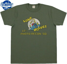 "BUZZ RICKSON'S/バズリクソンズ SLUB YARN T-SHIRT""17th PHOTO RECON. SQ."" スラブ天竺カットソー/半袖プリントTシャツ OLIVE(オリーブ)/BR78164"