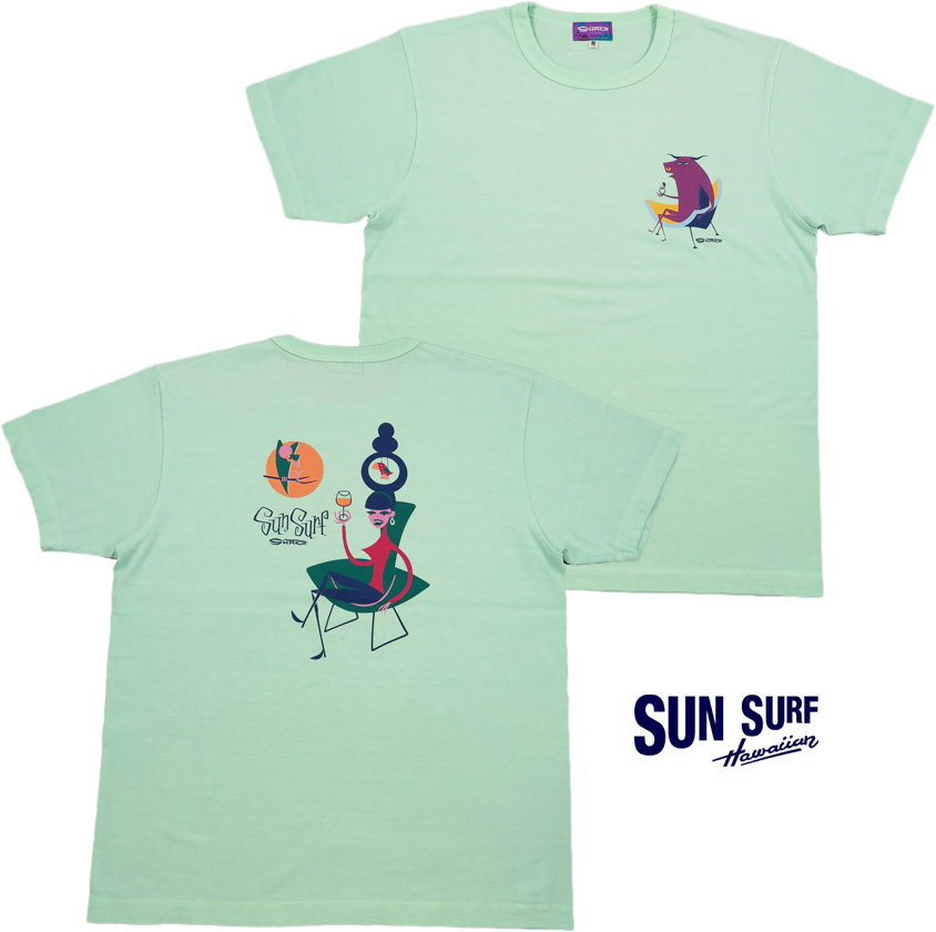 "SUN SURF/サンサーフ""GLAMOROUS COCKTAIL""by SHAG S/S T-SHIRT グラマラス・カクテル、半袖バックプリントTシャツ M.GREEN(ミントグリーン)/SS78295"