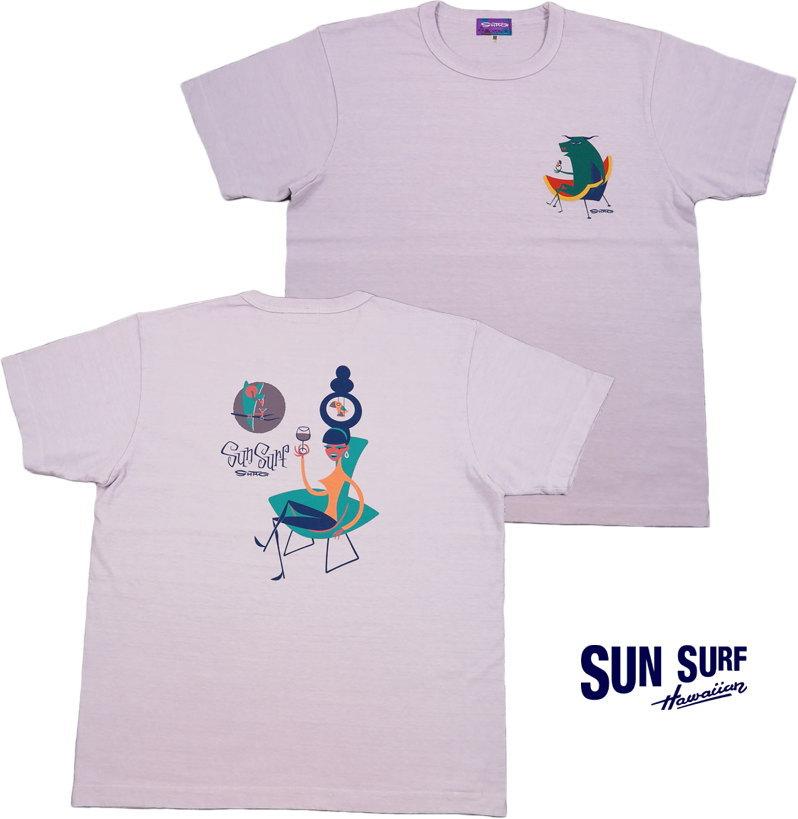 """SUN SURF/サンサーフ""""GLAMOROUS COCKTAIL""""by SHAG S/S T-SHIRT グラマラス・カクテル、半袖バックプリントTシャツ L.PURPUL(ライトパープル)/SS78295"""