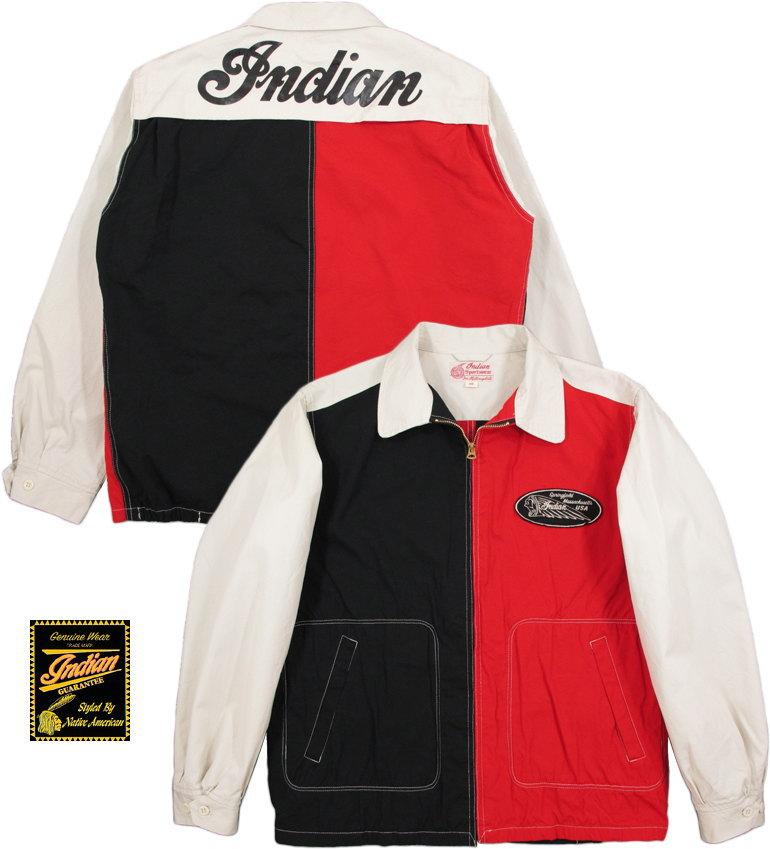 INDIAN MOTORCYCLE/インディアンモーターサイクル COTTON SPORT JACKET バックプリント入り、コットンスポーツジャケット/スウィングトップ CRAZY(クレイジー)/IM14358