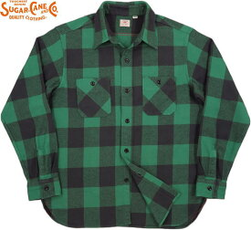 SUGAR CANE/シュガーケーン TWILL CHECK L/S WORK SHIRT ツイルチェック ワークシャツ/チェックシャツ/綿ネルシャツ GREEN(グリーン)/SC28503