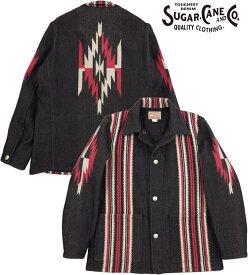 SUGAR CANE/シュガーケーン NATIVE AMERICAN WOOL BLANKET JACKET ネイティブアメリカン ウールブランケット ジャケット BLACK(ブラック)/Lot;SC14771