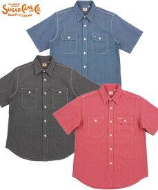 SUGAR CANE/シュガーケーン JEAN CORD S/S WORK SHIRT ジーンコードストライプ、半袖ワークシャツLot;SC38459