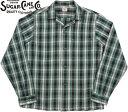 SUGAR CANE/シュガーケーン OMBRE CHECK L/S OPEN SHIRT オンブレチェック オープンカラーシャツ/チェックシャツ GREEN(グリーン)/SC28…