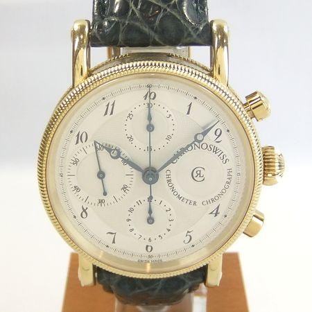 【質屋出店】【当店保証1年付】クロノスイス クロノグラフ CH7521 K18YG(イエローゴールド) メンズ 時計【中古】