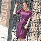 318063Avaパーティードレス(袖付MIYUKIドレス紫黒パープルフォーマル)
