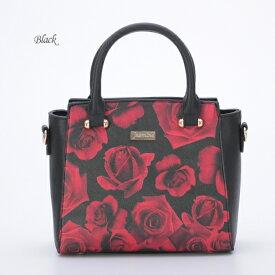 再入荷【 jasmine】プリントバッグJ718517 ハンドバック 薔薇 ローズ 花柄 MIYUKIドレス ショルダー付 黒 ブラック